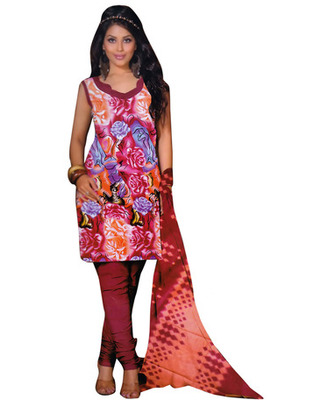Pink Color Cotton Fabric Printed Dress Material