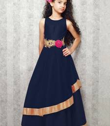 Buy blue satin designer embroidered partywear kids gown kids wear kids-salwar-suit online