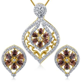 Man-Made Diamond American Diamond Pendant in High Gold Plated Look