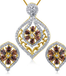 Buy Man-Made Diamond American Diamond Pendant in High Gold Plated Look Pendant online