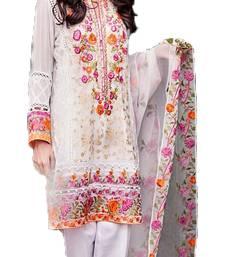 Buy White georgette embroidered semi stitched salwar with dupatta party-wear-salwar-kameez online