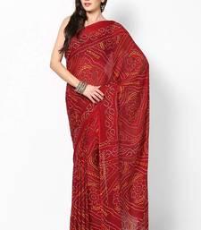 Buy Maroon Chunri Print Crepe Saree crepe-saree online