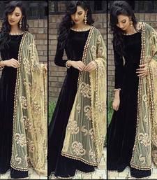 Buy black silk embroidered semi stitiched salwar with dupatta party-wear-salwar-kameez online