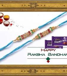 Buy 2 blue Beaded Brother Rakhi With 2 Chocolates For Rakshabandhan rakhi-with-chocolate online