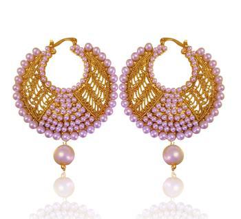 Fabulous white golden pearl polki bali earrings with jali work by adiva absat0cb00105 TDS 8