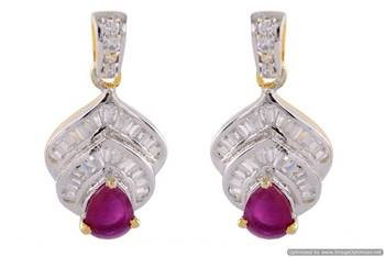 SIMPLE & SOBER AD STONE STUDDED EARRINGS/SMALL HANGINGS (RED ) - PCFE3265
