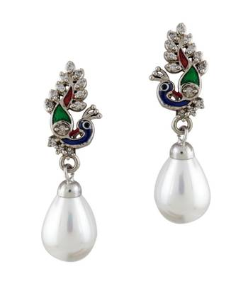 Peacock Pride with White  Drop Earrings