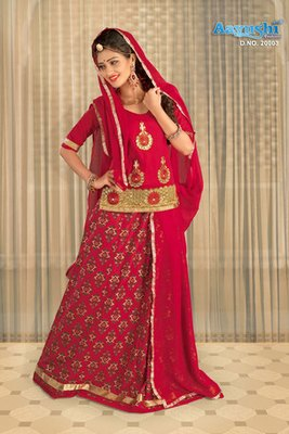 Fiery Red Colour Cotton Chanderi Rajasthani Poshak With Block Prints And Embroidery  Work