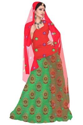 Orange and Green Chanderi cotton Printed Rajasthani Poshak