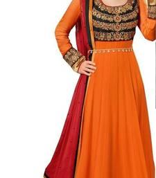 Buy orange georgette embroidered semi stitched salwar with dupatta anarkali-salwar-kameez online