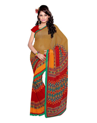 Light Yellow Colored Bemberg Georgette Printed Saree