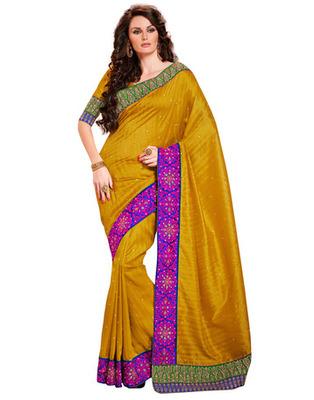 Golden  Colored Bhagalpuri Cotton Saree