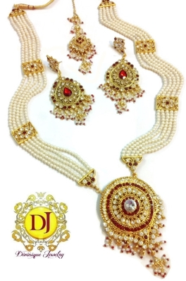 Maharani haar, Pearl n polki red and white