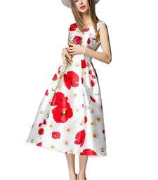 Buy White and red printed silk western wear western-wear online