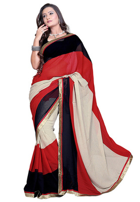Fabdeal Red & Black Colored Faux Georgette Printed Saree