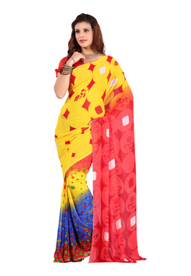 Fabdeal Yellow Colored Faux Georgette  Printed Saree