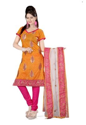 Fabdeal Orange Colored Chanderi Cotton Print Un-Stitched Salwar Kameez