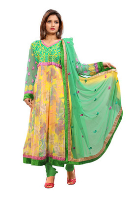 Fabdeal Yellow Colored Faux Georgette Semi-Stitched Salwar Kameez