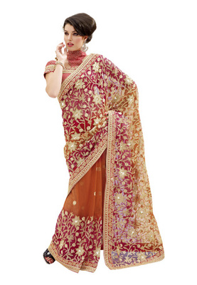 Fabdeal Light Brown Colored Net Embroidered Saree