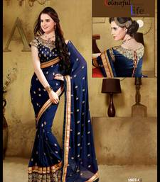 Buy blue embroidered georgette saree With Blouse ethnic-saree online