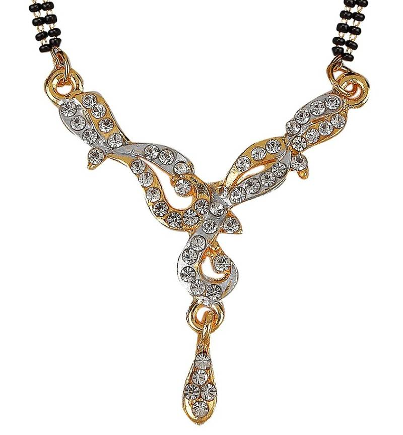 Buy New Design Black Beads Gold Plated Zinc Alloy Mangalsutra Online