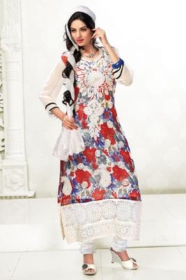 White and Blue Chiffon Printed Fancy Salwa Kameez