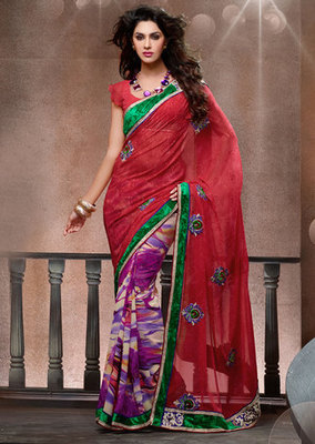 Hypnotex Georgette Maroon+Pink Saree Frenzy 8308