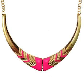 DIOVANNI Miss Pink Diva Golden Tresses  Statement Necklace