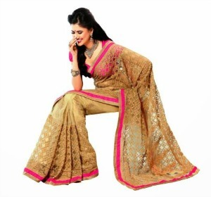 Beige & Pink color net work saree