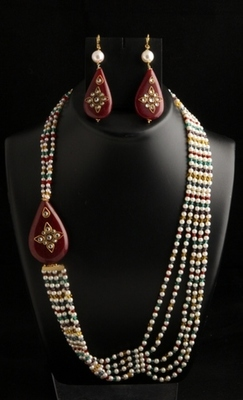 Five layer long pearl and multicolor mala with tanjore side pendant