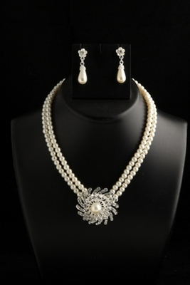Two layer pearl mala with stylish pendant with white pearl drops