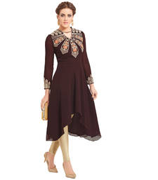 Buy Brown embroidered georgette stitched kurti kurtas-and-kurti online