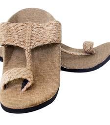Buy Beige brun jute male slip on footwear online