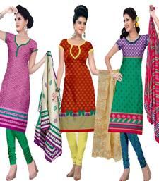 Buy Multicolor cotton printed unstitched salwar with dupatta salwar-combo online