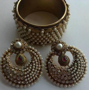 Designer Fancy Earings with Traditional moti kada