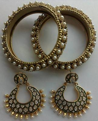 Designer Earings with Traditional Bangles