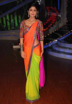 Shilpa Shetty Raj Gharana Bollywood Replica Saree