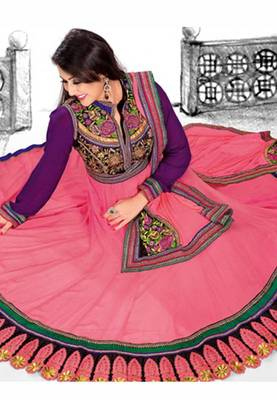 Tomato red designer embroidered semi stitched anarkali suit