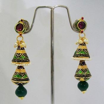 Meenakari Double Shanku Earrings with Balls (Dark Green Black)