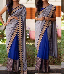 Buy grey embroidered georgette saree With Blouse wedding-saree online
