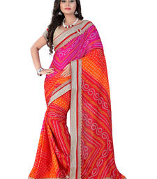 Buy Multicolor embroidered georgette saree With Blouse bandhani-sarees-bandhej online