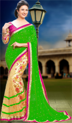 green printed pure georgette saree With Blouse