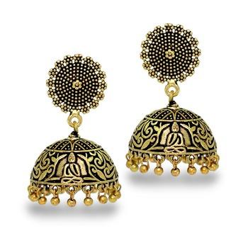 Antique Oxidized Gold Plating Budha Shape Jhumki Women Earrings