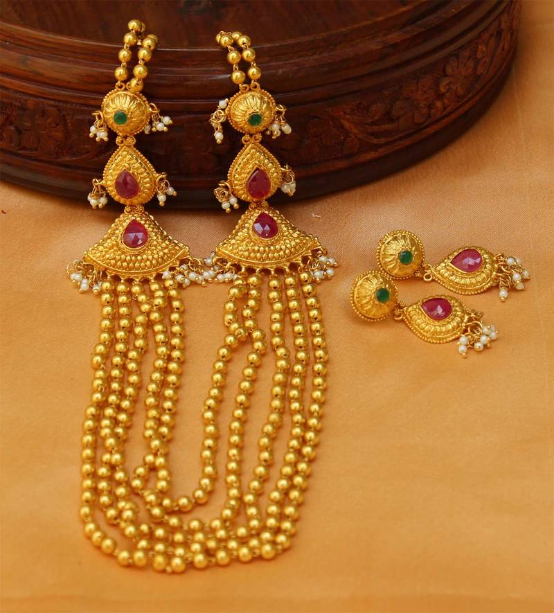 Buy Designer Multi Layer One Gram Gold Necklace Set Online