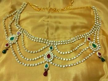 Designer Austrian Diamonds Multicolor Waist Belt Kamarband Belly Chain