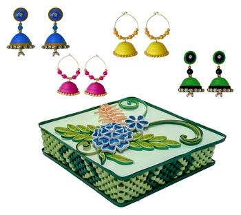 Handmade Paper earrings combo with Designer jewellery box Set