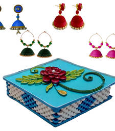 Buy Handmade Paper earrings combo with Designer jewellery box Set designer-jewellery online