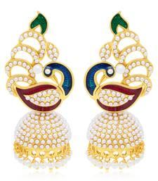 Buy Delightful Peacock Gold Plated Earring For Women diwali-jewellery online
