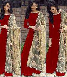 Buy red embroidered bhagalpuri semi stitched salwar with dupatta semi-stitched-salwar-suit online
