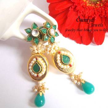 Green kundan long earrings